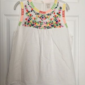 JCrew Factory White Embroidered Sleeveless Top